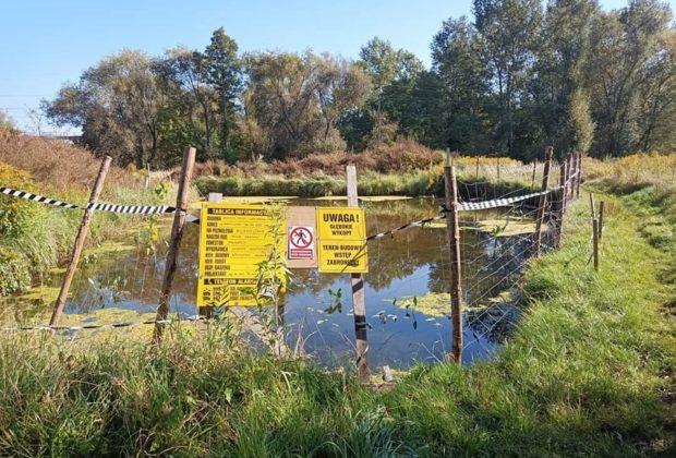 Zdj. Mariusz Waszkiewicz, wypełniony wodą wykop na dom w podmokłym terenie w rejonie Dłubni.